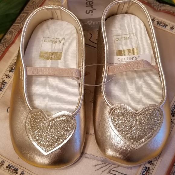 fcd617883bfe Carter's Shoes | Nwt Carters Gold Glitter Hearts Ballet Slippers ...
